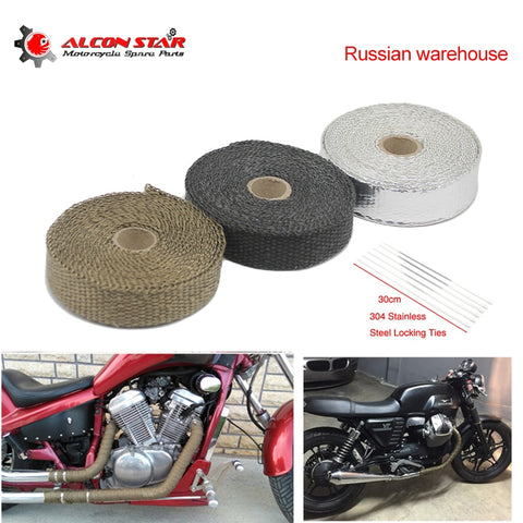 Alconstar- Russian warehouse 5M/10M/15M Thermal Tape Motorcycle Exhaust Pipe Header Heat Resistant Wrap Tape with Steel Ties