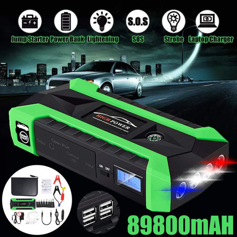 Multifunction 89800mAh 4 USB Starting Device Booster 600A 12V Car Jump Starter Power Bank Car Starter For Car Battery Charger