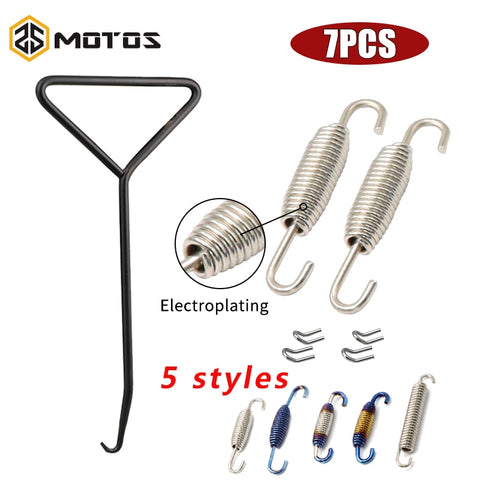 ZS MOTOS 7Pcs/set Motorcycle Exhaust Pipe Muffler Mounting Spring Hooks Stainless Steel For Muffler 51MM 61MM Link Pipes Spring