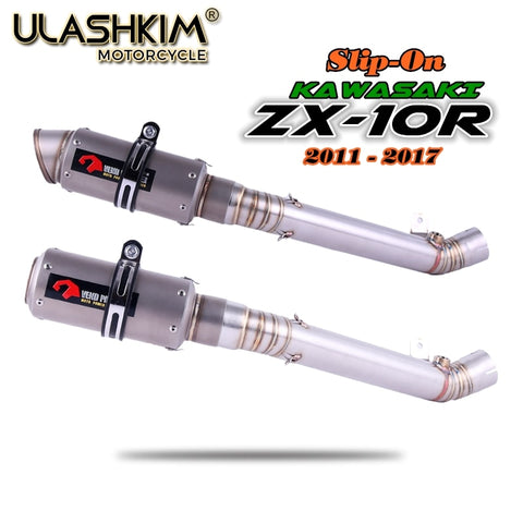 Motorcycle Exhaust Full System Muffler Escape Link Middle Pipe Slip on For Kawasaki ZX10R ZX-10R 2011-2017
