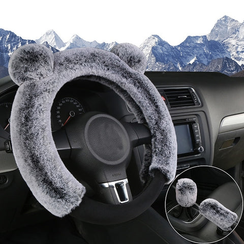 Winter car steering wheel cover handbrake cover gear cover short plush 3Pcs cute cartoon universal steering wheel cover