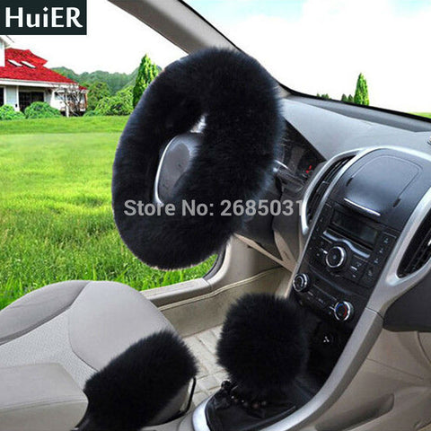 3pcs/set Winter Car Steering-wheel Cover Australian Wool Plush 38cm  Black