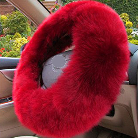 3pcs/set Winter Car Steering-wheel Cover Australian Wool Plush 38cm Red