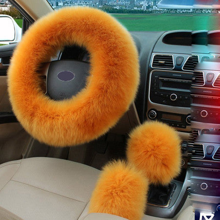 3pcs/set Winter Car Steering-wheel Cover Australian Wool Plush 38cm Yellow