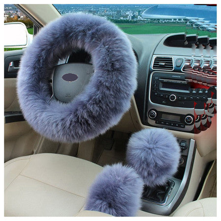 3pcs/set Winter Car Steering-wheel Cover Australian Wool Plush 38cm Gray