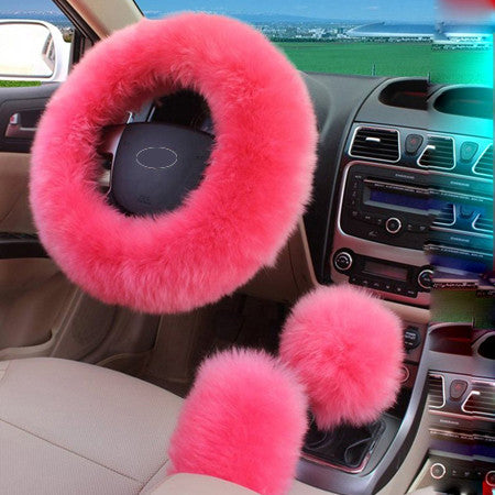 3pcs/set Winter Car Steering-wheel Cover Australian Wool Plush 38cm Pink
