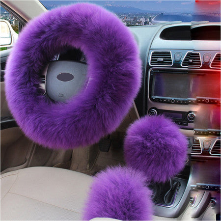 3pcs/set Winter Car Steering-wheel Cover Australian Wool Plush 38cm Purple