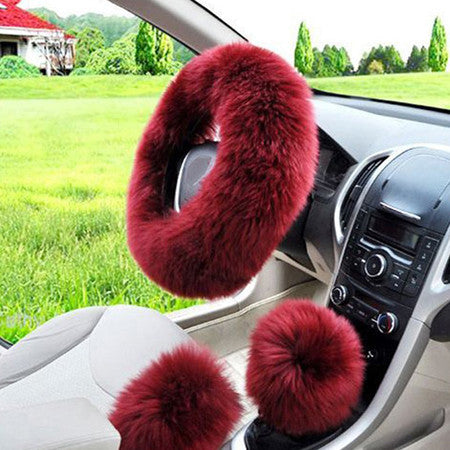 3pcs/set Winter Car Steering-wheel Cover Australian Wool Plush 38cm