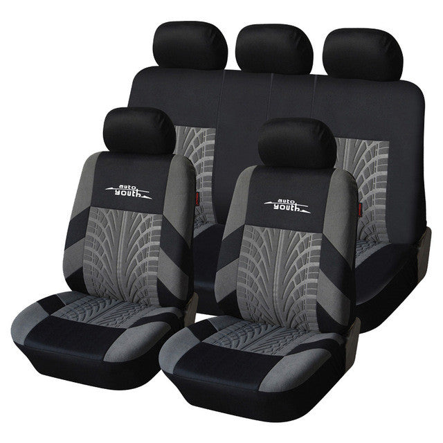 Polyester Fabric Universal Car Seat Cover Set Fit Most Car Interior Gray