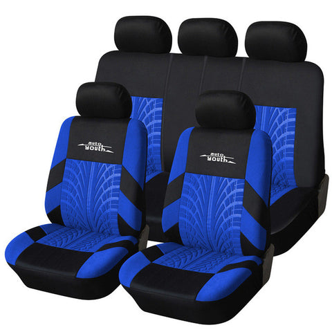 Polyester Fabric Universal Car Seat Cover Set Fit Most Car Interior Blue