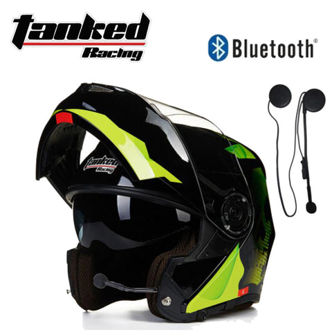 Tanked Racing Flip Up Double lens ABS Open Face bike Bluetooth helmet