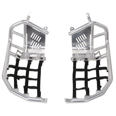 buy Tusk Foot Peg Nerf Bars With Heel Guards Silver With Black Webbing for $163.99