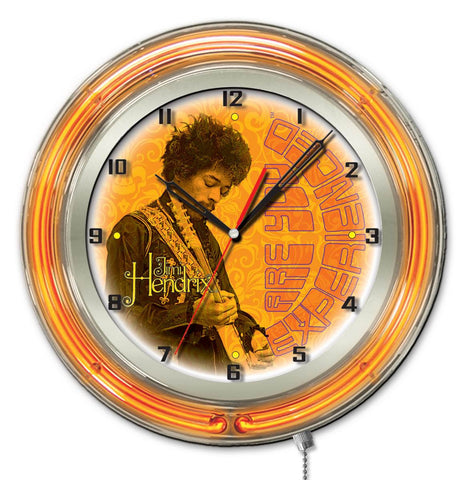 "Jimi Hendrix  19"" Neon Clock with AYE - Guitar Design"