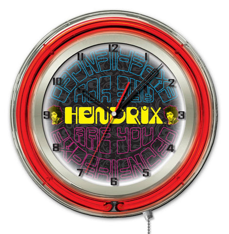 "Jimi Hendrix  19"" Neon Clock with AYE - Mirrored Design"