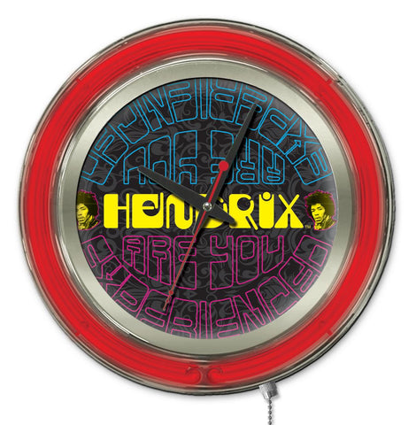"Jimi Hendrix  15"" Neon Clock with AYE - Mirrored Design"