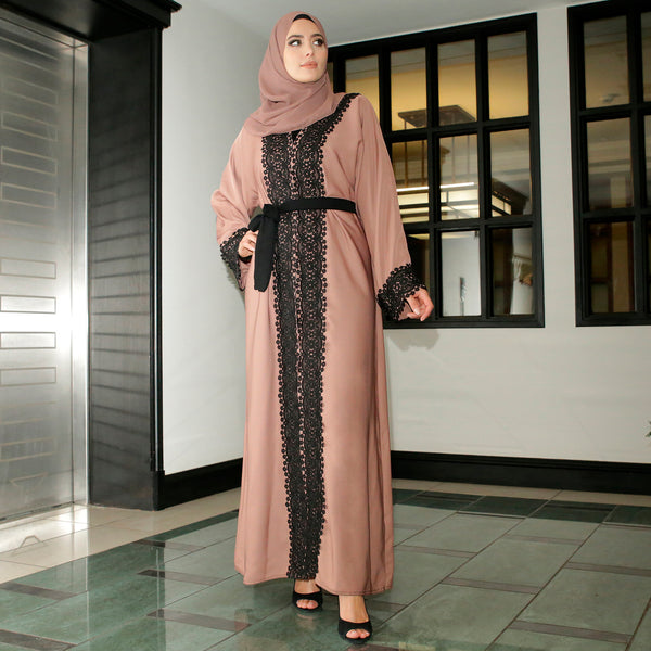 Eliya Abaya Pink with Black Lace - Anaya Clothing