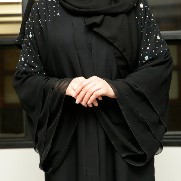 Maliha Black Abaya with Gems - Anaya Clothing