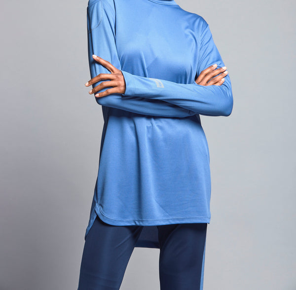 FD Sports Blue High Collar Top - T601.12 - Anaya Clothing