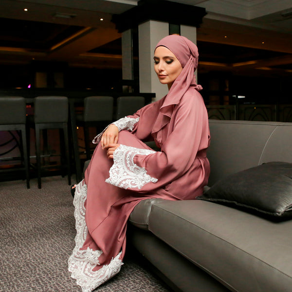 Kyra Abaya Pink/ White Lace - Anaya Clothing