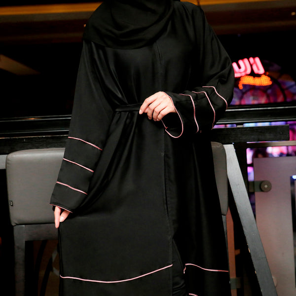 Eva Black and Pink Abaya - Anaya Clothing