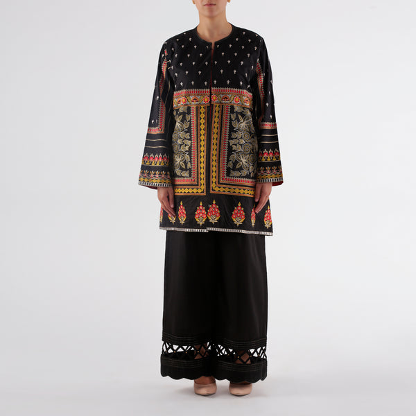Oaks Black Embroidered Jacket Dress - Anaya Clothing