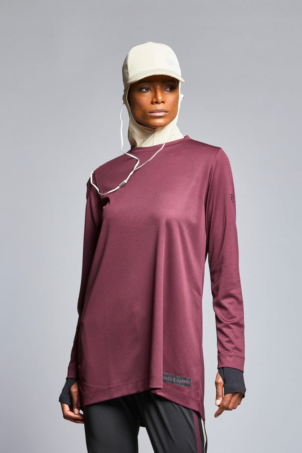 FD Sports Plum Round Neck Top - T603.45 - Anaya Clothing