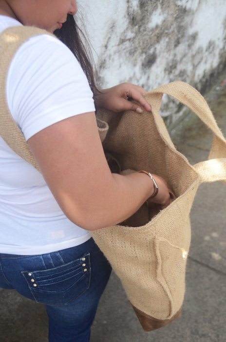 Burlap/leather Carry-All Beto's Coffee Co. Bag