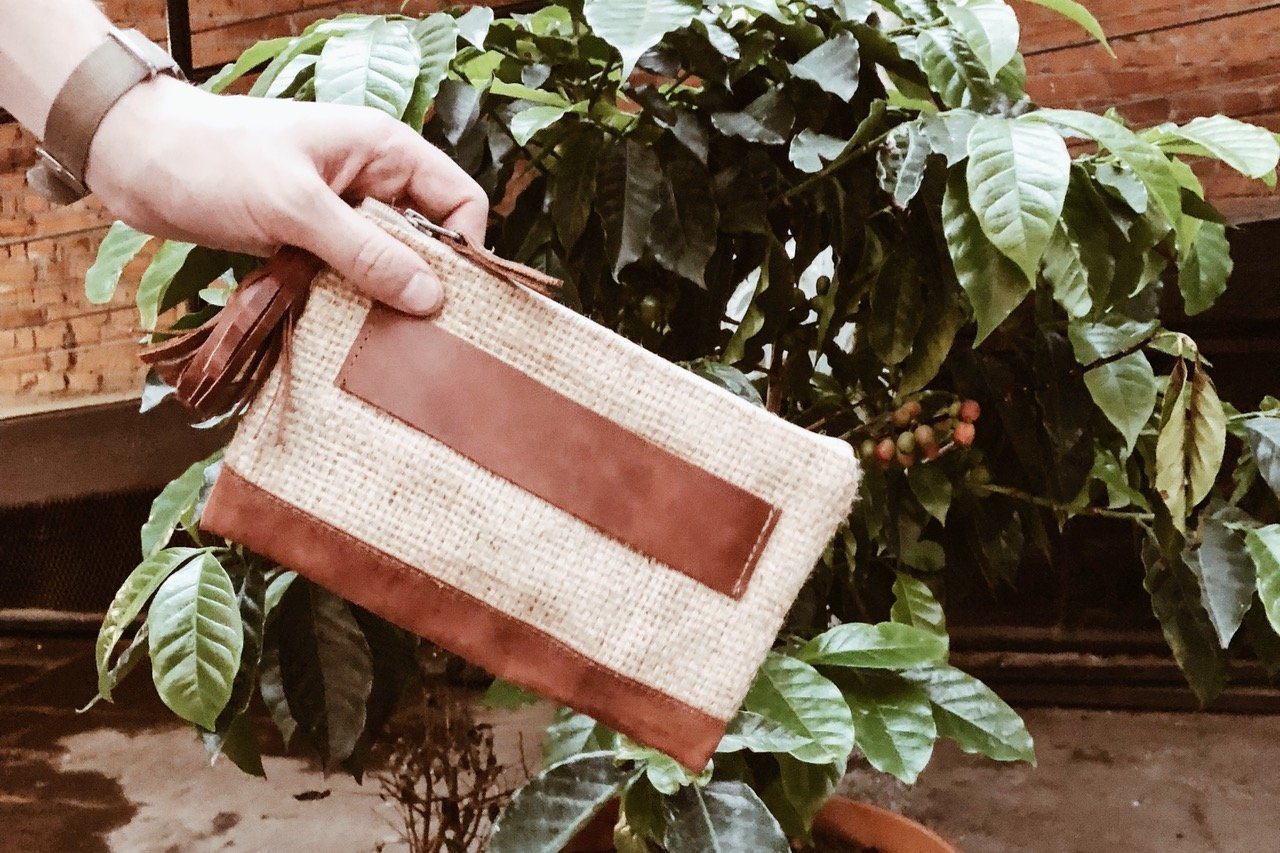 Burlap Leather Clutch Beto's Coffee Co. Accessory