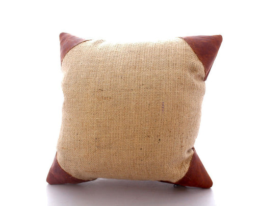 Burlap Leather Cornered Pillow (15x15) Beto's Coffee Co. Home Decor