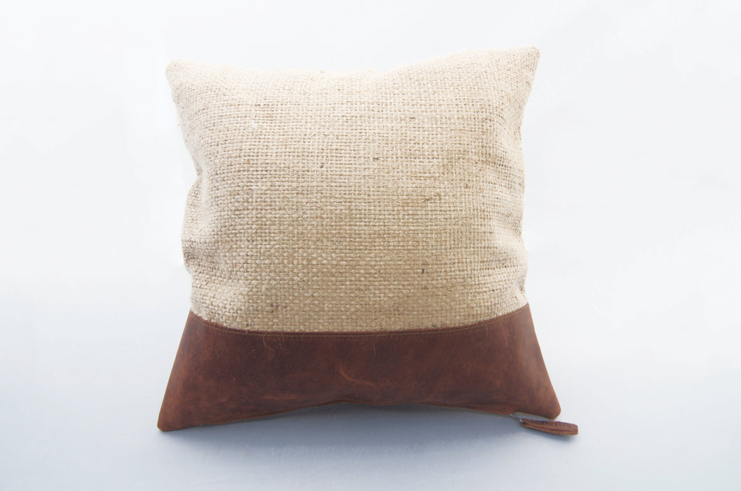 Burlap with Leather Edge Pillow (15x15) Beto's Coffee Co. Home Decor