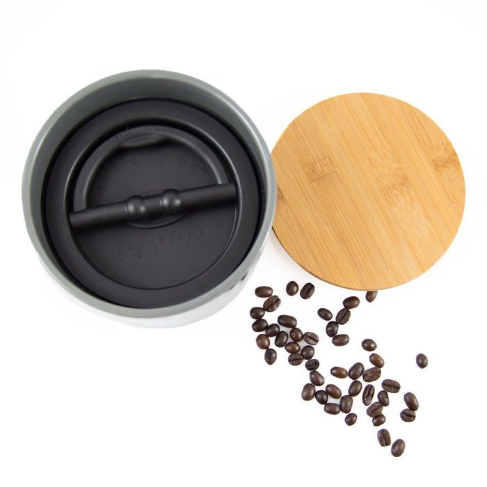 "Ceramic Coffee Canister with Airscape® Technology - 4"" Small Planetary Design Coffee Storage"