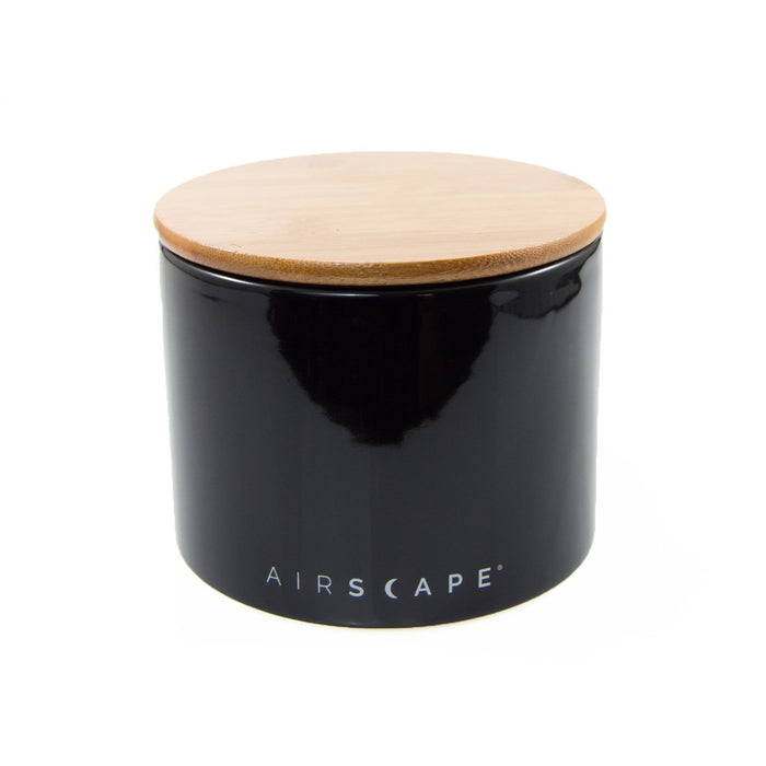"Ceramic Coffee Canister with Airscape® Technology - 4"" Small Planetary Design Coffee Storage Obsidian (Black)"
