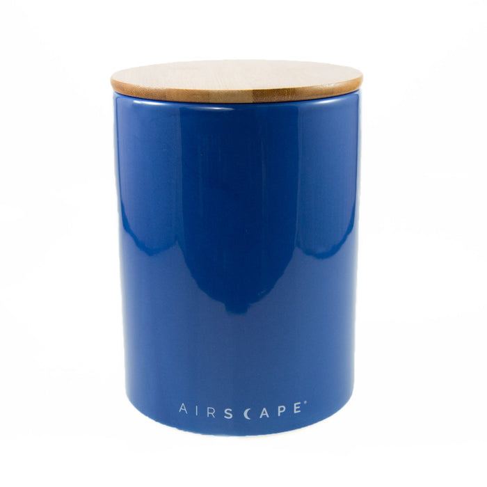 "Ceramic Coffee Canister with Airscape® Technology - 7"" Medium Planetary Design Coffee Storage Cobalt (Dark Blue)"