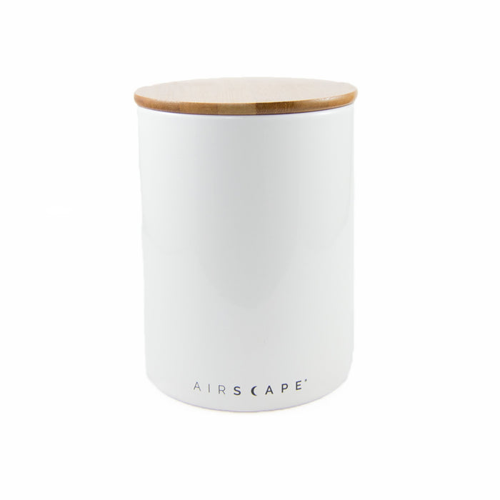 "Ceramic Coffee Canister with Airscape® Technology - 7"" Medium Planetary Design Coffee Storage Snowflake (White)"