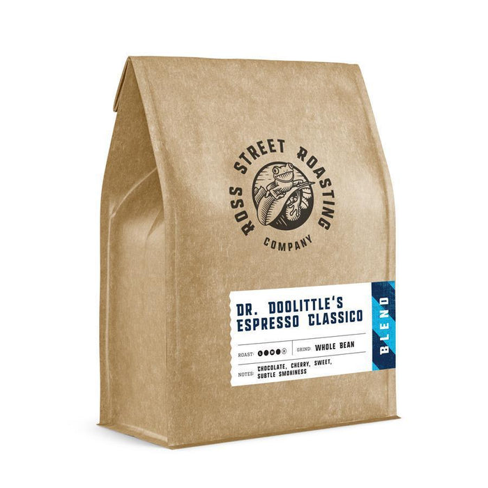 Dr. Doolittle's Espresso Classico - Medium-Dark Roast Direct Trade Espresso Blend Ross Street Roasting Co. Coffee Beans