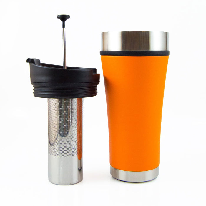 Infusion Tumbler - Cold Brew Coffee To-Go Planetary Design Mugs Desert Orange (non-slip texture)