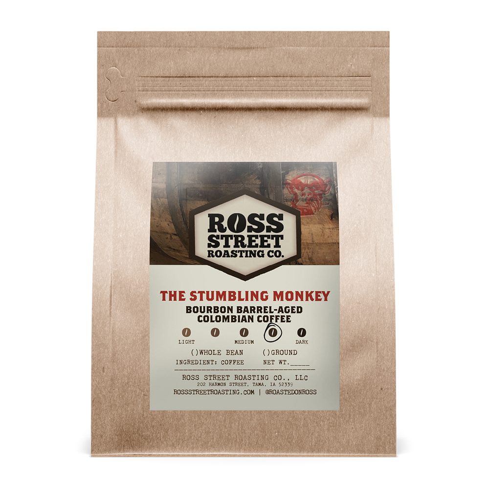 The Stumbling Monkey: Barrel-Aged Colombian Ross Street Roasting Co. 12oz. bag 05-10-2018
