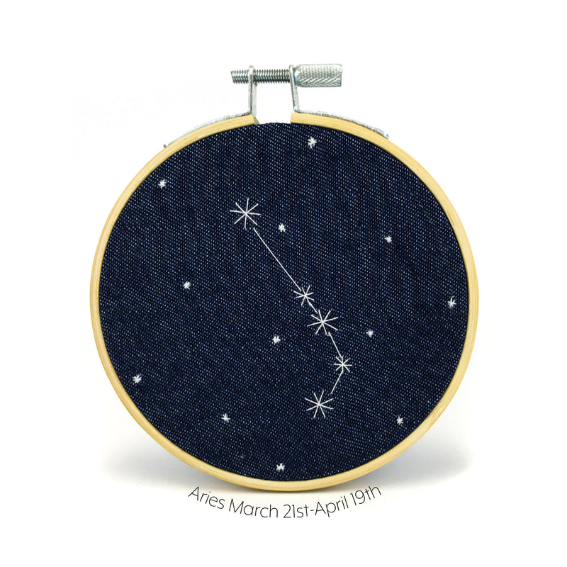 Aries Zodiac stitched hoop by Chelsey Greene