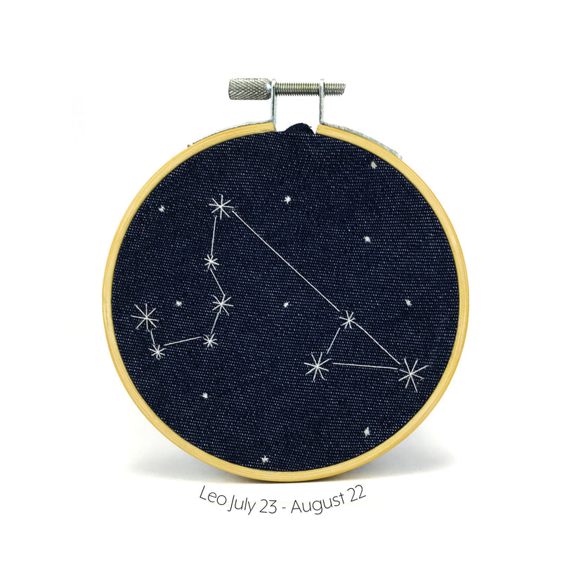 Leo Zodiac stitched hoop by Chelsey Greene