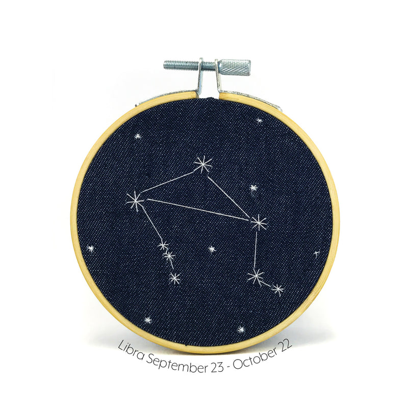 Libra Zodiac stitched hoop by Chelsey Greene