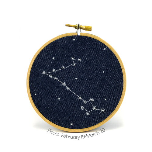 Pisces Zodiac stitched hoop by Chelsey Greene