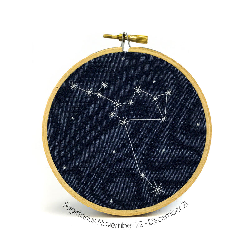 Sagittarius Zodiac stitched hoop by Chelsey Greene