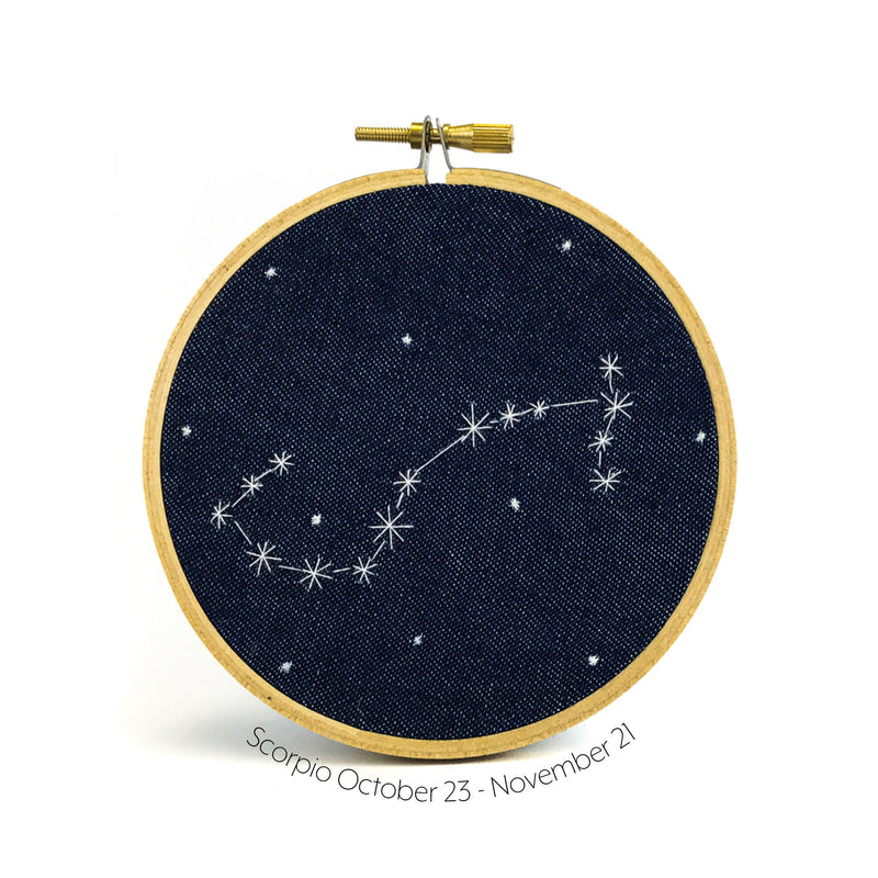 Scorpio Zodiac stitched hoop by Chelsey Greene