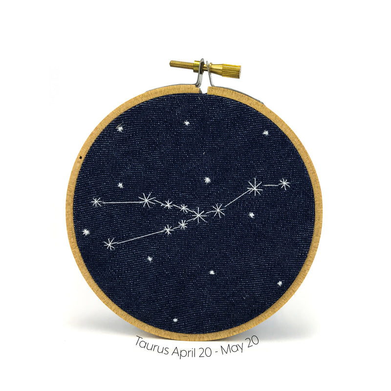Taurus Zodiac stitched hoop by Chelsey Greene