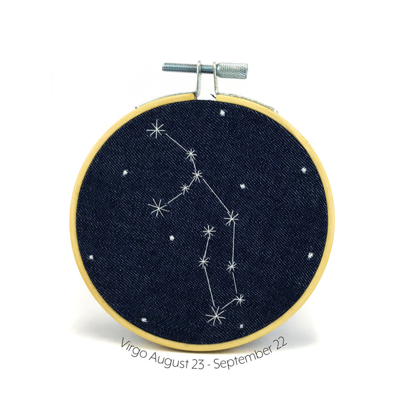 Virgo Zodiac stitched hoop by Chelsey Greene