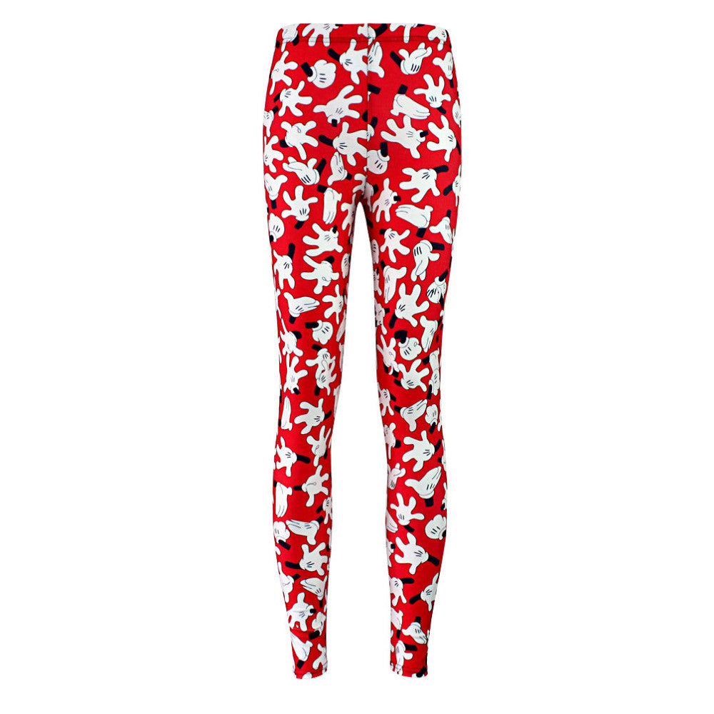Leggings: red stemz covered in Mickey Mouse's hands! #disneyfan #nicetemz #leggingsarepants