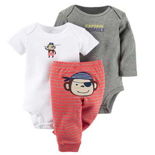 Captain Adorable 3-piece set.  These adorable red striped leggings, for baby, have a cute monkey pirate on the bum.  Comes with both short and long sleeve onesies to match.