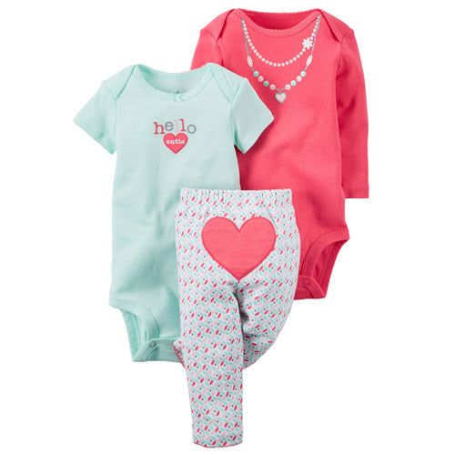 Baby Bling 3-piece set.  These adorable multi-coloured leggings, for baby, have a heart on the bum.  Comes with both short and long sleeve onesies to match