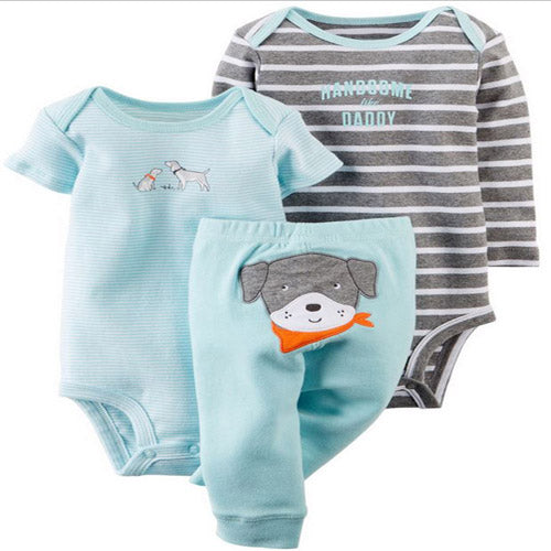 Chip Off the Ol' Block 3-piece set.  These adorable lite blue leggings, for baby, have a cute puppy on the bum.  Comes with both short and long sleeve onesies to match.