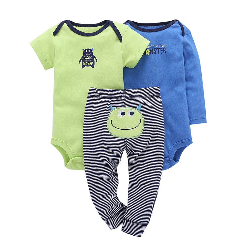 Daddy's Little Monster 3-piece set.  These adorable striped leggings, for baby, have a cute little monster on the bum.  Comes with both short and long sleeve onesies to match.